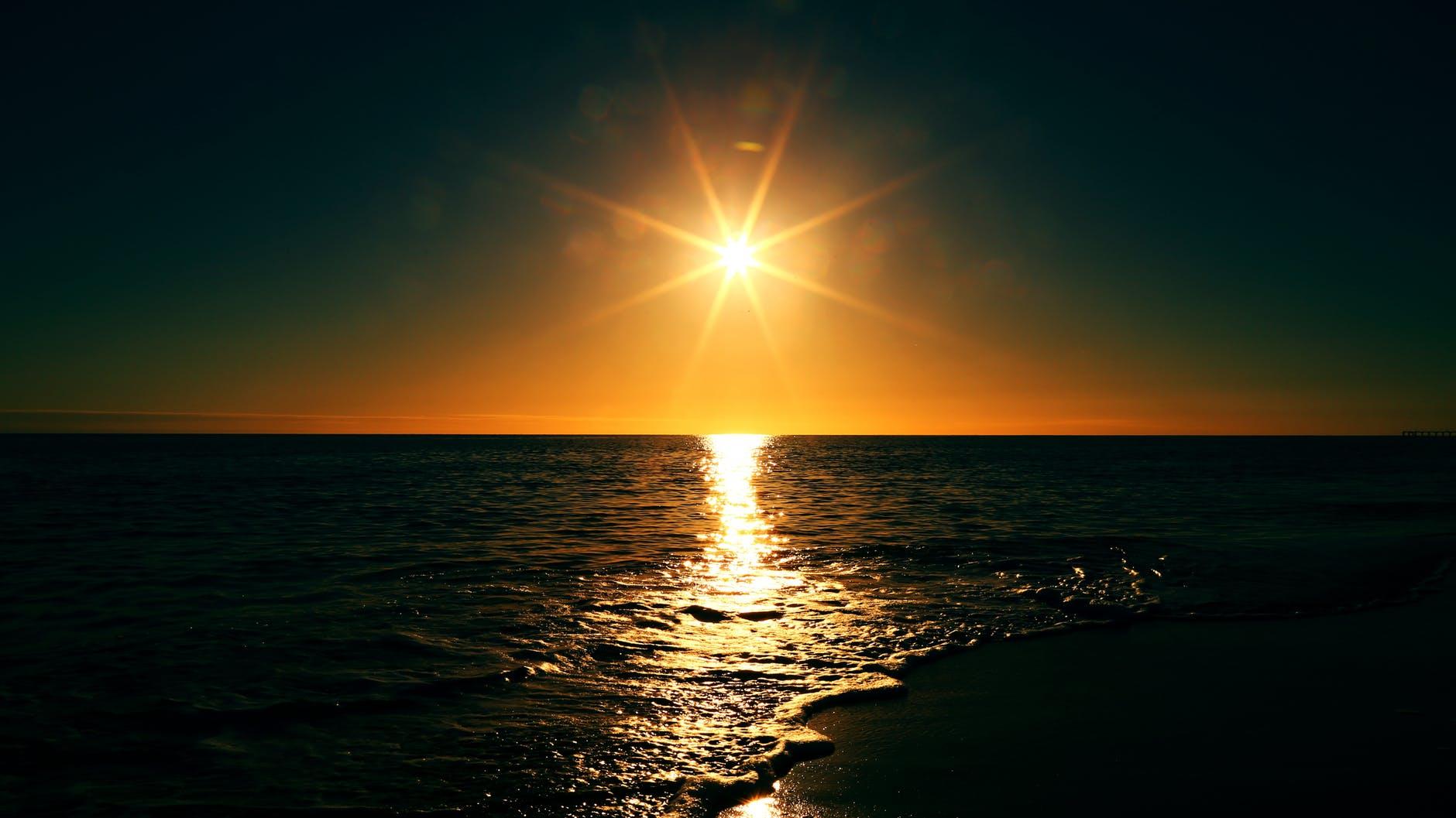 sunset sunrise sea horizon